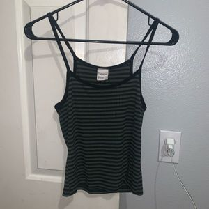 Green and Black Striped Tilly's Tank Top